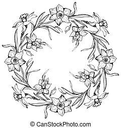 tromboni, ghirlanda, mano, floreale, narciso, disegnato, fiori, rotondo