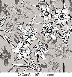 tromboni, modello, seamless, mano, monocromatico, narcissus., floreale, disegnato, fiori