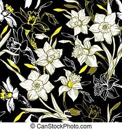 tromboni, modello, seamless, mano, narcissus., floreale, disegnato, fiori