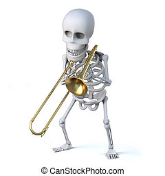 trombonist, スケルトン, 3d