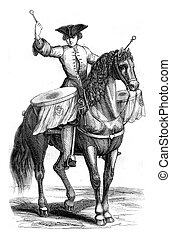 Trombonist a horse, vintage engraving.