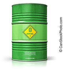 trommel, biofuel, freigestellt, grüner hintergrund, weißes