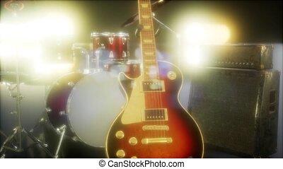 trommel, lighting., toneel, uitrusting, gitaar, onderworpen