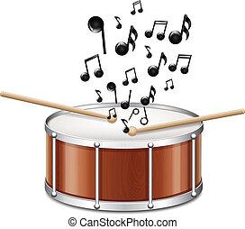 trommel, mit, melodie