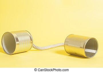 trommel telefoon, op, een, gele achtergrond, .