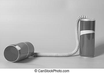 trommel telefoon, op, een, grijze achtergrond, .