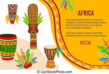 trommel, wohnung, banner, stammes-, ethnisch, afrikanisch, ...