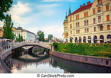 tromostovje, スロベニア, ljublianica, 教会, ljubljana, 川