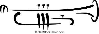 trompet, caligraphy, stijl
