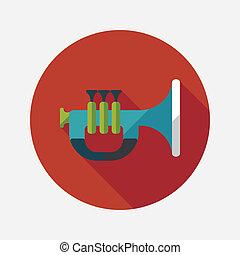 trompet, of, hoorn, plat, pictogram, met, lang, schaduw