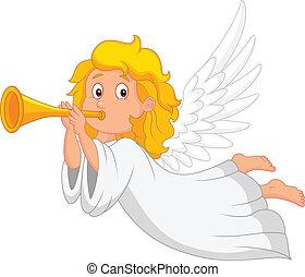 trompet, spotprent, engel