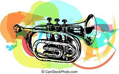 trompeta, colorido, ilustración
