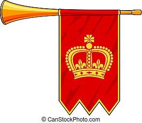 trompeta, con, bandera roja, vector, ilustración