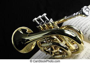 trompeta, con, hoja de música