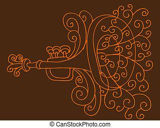 trompeta, dibujo