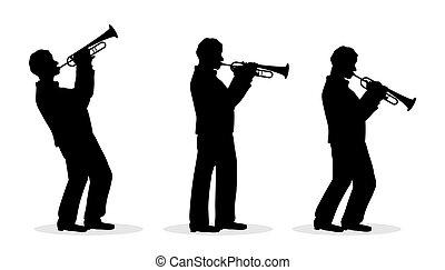 trompeta, hombres, silueta