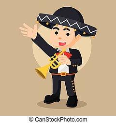 trompeta, ilustración, mariarchi