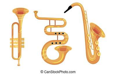 trompeta, instrumentos, musical, saxófono, vector, conjunto,...