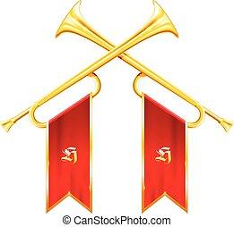trompetas, vendimia, -, dos, victorioso, cruzado, cuernos,...