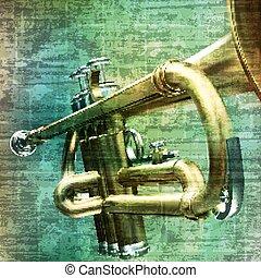 trompete, abstratos, grunge, fundo
