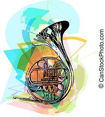trompete, coloridos, ilustração