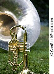 trompete, com, faixa, instrumentos, em, fundo