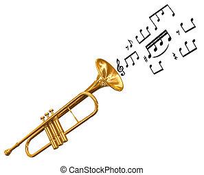 trompete, com, notas música