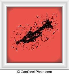 trompete, diferente, feito, notas música