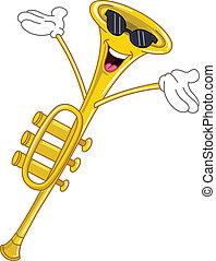 trompete, karikatur