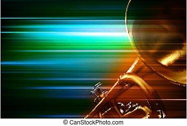 trompete, música, borrão, abstrato verde, fundo