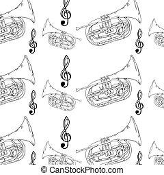 trompete, musical, fundo