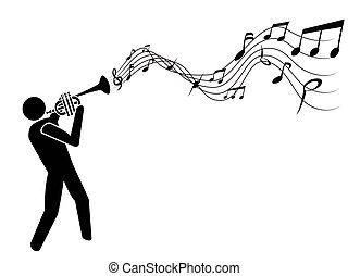 trompete, notas, soprando, música