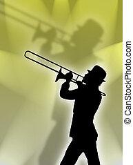 trompete spieler, in, der, lig
