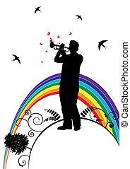 trompetista, golondrina, y, mariposa
