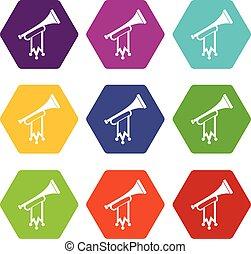 trompette, à, drapeau, icône, ensemble, couleur, hexahedron