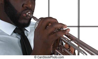 trompette, afro-américain, player.