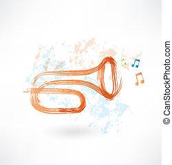 trompette, grunge, icône