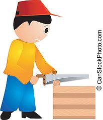 tronçonneuse, vecteur, charpentier, illustration