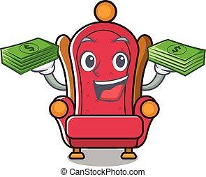 tron, król, maskotka, rysunek, pieniądze