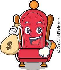 tron, król, pieniądze, litera, torba, rysunek