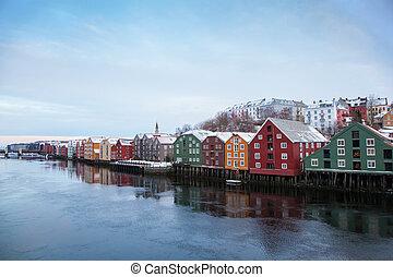 trondheim, hiver, cityscape, norvège