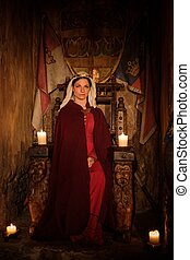 trono, antico, medievale, regina, interior., castello