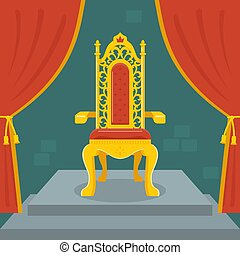 trono, dourado, velvet., kingdom., fada, vermelho