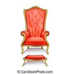 trono, estilo, lujoso, realista, vector, rojo
