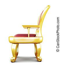trono, fondo., metallo, isolato, interpretazione, bianco, 3d