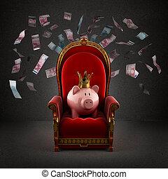 trono, habitación, hucha, corona real, cerdo, billetes de ...