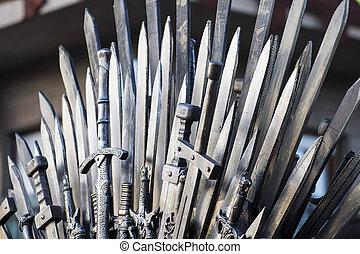 trono, hecho, espadas, medieval, justo