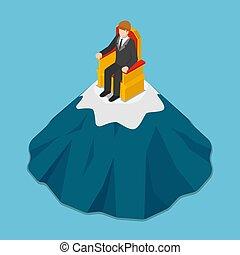 trono, isométrico, sentado, cima, hombre de negocios, mountain.