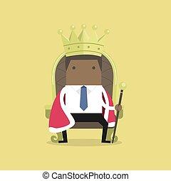 trono, king., como, sentado, corona, africano, hombre de negocios