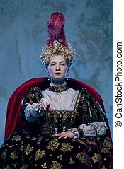 trono, real, highness, ella, sentado